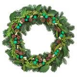 evergreen украшения рождества цветет вал красного цвета poinsettia приветствиям стоковое изображение rf
