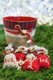 evergreen украшения рождества цветет вал красного цвета poinsettia приветствиям Стоковое Фото