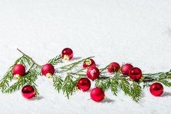 Evergreen bough with red ornaments Stock Photography