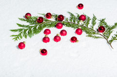 Evergreen bough with red ornaments Stock Photo