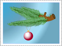 Evergreen branches and bauble decoration isolated Royalty Free Stock Photo