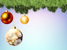 Evergreen branches with gold balls. EPS 8 Stock Photography
