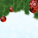 Evergreen branches with red ornaments. EPS 8 Royalty Free Stock Photography