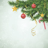 Evergreen Christmas Tree Branches with Ornaments Stock Images