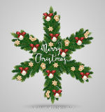 Evergreen Christmas Wreath in Form of Snowflake Royalty Free Stock Image