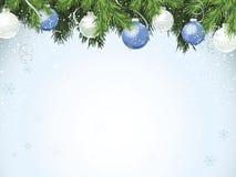 Evergreen com ornamento azuis ilustração do vetor