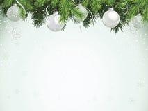 Evergreen com ornamento de prata ilustração royalty free