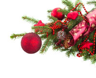 Evergreen fir tree and red christmas balls Stock Images