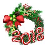 Evergreen holiday wreath with candy cane number of 2018. Christmas Wreath. Evergreen holiday wreath with bow and red berries and candy cane number of 2018 year Stock Images