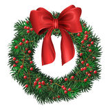 Evergreen holiday wreath. With red bow and berries in circular shape. Vector  illustration Stock Image