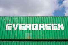 Evergreen intermodal container Stock Photography