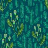 Evergreen nature pattern. Seamless floral pattern background. Summer flower texture Stock Photos