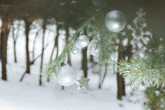Evergreen pine forest with Christmas ornament baubles and snowflakes at foreground Stock Image