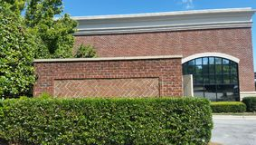 Evergreen shrubs and hedge in front of red brick wall. Evergreen hedge and  shrubs planted  in front of red brick storefront retail walls  on sunny day Royalty Free Stock Images