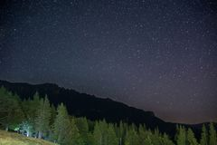 Evergreen spruce forest at night, visible Milky Way galaxy, clear sky, long exposure Stock Photography