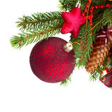 Evergreen tree and red christmas ball close up Royalty Free Stock Photo