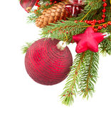 Evergreen  tree with red christmas decorations and Royalty Free Stock Photography