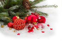 Evergreen tree and red christmas decorations Stock Photos