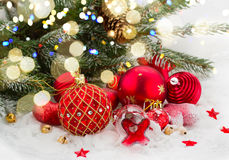Evergreen tree and red christmas decorations Royalty Free Stock Photo
