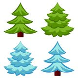 Evergreen tree seasonal change 4 element set vector illustration