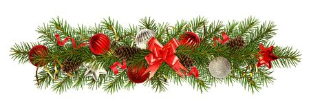 Evergreen twigs of Christmas tree and decorations in a festive. Garland isolated on white. Flat lay. Top view royalty free stock photography