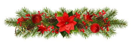 Evergreen twigs of Christmas tree and decorations in a festive garland royalty free stock images