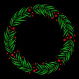 Evergreen wreath with berries Stock Image