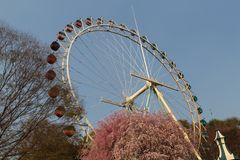 An old ferris wheel in Everland park stock photos