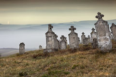 Everlasting. Old group of tombstones ruin on the hill, Hungary Stock Images
