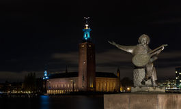 Evert Taube Monument in Stockholm at night. Royalty Free Stock Photography