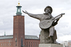 Evert Taubes statue in Stockholm Royalty Free Stock Photos