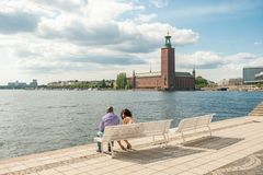 Evert Taubes terrace at Riddarholmen in Stockholm Royalty Free Stock Image