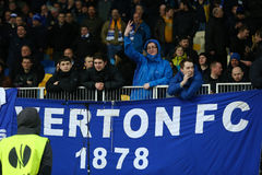 Everton fans at guest stands, UEFA Europa League Round of 16 second leg match between Dynamo and Everton Stock Photography