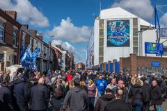Everton, Liverpool, UK, April, 17, 2016: Crowds of supporters gather at Everton Football Club for a premiership game royalty free stock photo