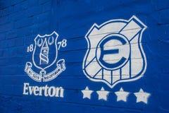Everton-Logo am Goodison-Park Stadion Lizenzfreies Stockbild