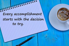 Every accomplishment starts with the decision to try on notepad. Page Stock Image