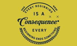 Every beginning is a consequence. Every beginning ends something quote vector illustration