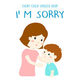 Every child should hear I'm sorry. Mother gently tell her son I'm sorry illustration vector illustration