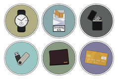 Every day carry detailed icons set. Hand watches, money wallet, gasoline lighter, mp3 music player, cigarettes pack, credit card. Vector clip art color Stock Image