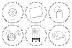 Every day carry detailed linear icons set. Hand watches, money wallet, gasoline lighter, mp3 music player, cigarettes pack, credit card. Vector clip art Royalty Free Stock Photos