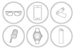 Every day carry detailed linear icons set Royalty Free Stock Image