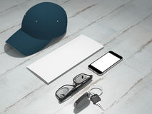 Every day carry man items collection: glasses, cap, key. Royalty Free Stock Images
