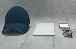 Every day carry man items collection: glasses, cap, key. Royalty Free Stock Photos