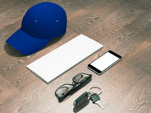Every day carry man items collection: glasses, cap, key. Stock Photo