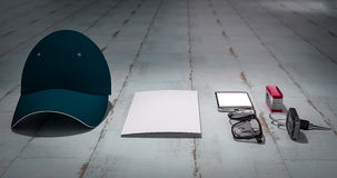 Every day carry man items collection: glasses, cap, knife. Stock Photography