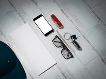Every day carry man items collection: glasses, cap, knife. Royalty Free Stock Photography