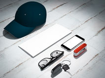 Every day carry man items collection: glasses, cap, knife. royalty free stock images