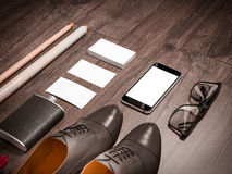 Every day carry man items collection: glasses, cue, shoes . Stock Photography