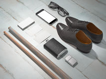 Every day carry man items collection: glasses, cue, shoes . Stock Image