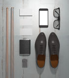 Every day carry man items collection: glasses, cue, shoes . Royalty Free Stock Photos